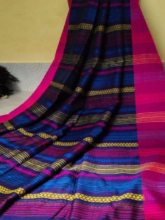 Black Blue Multicolor Stripe Pattern Cotton Saree