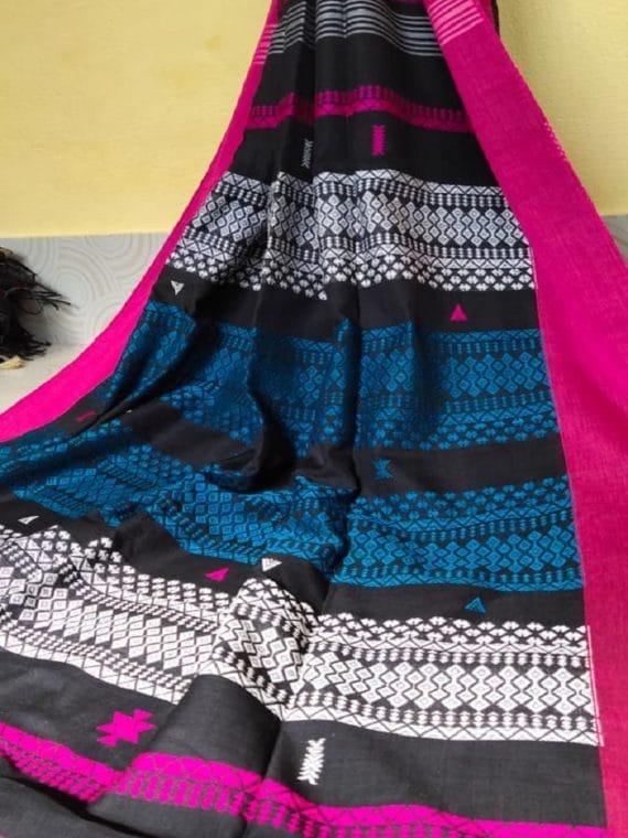 Black White Blue Multicolor Stripe Pattern Cotton Saree