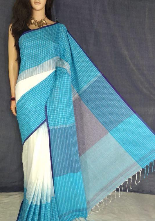 Blue White Fusion Khadi Check Saree