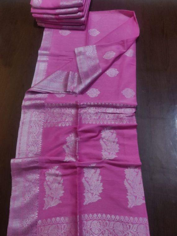 Bright Pink Linen Handloom Saree with Banarsi Design