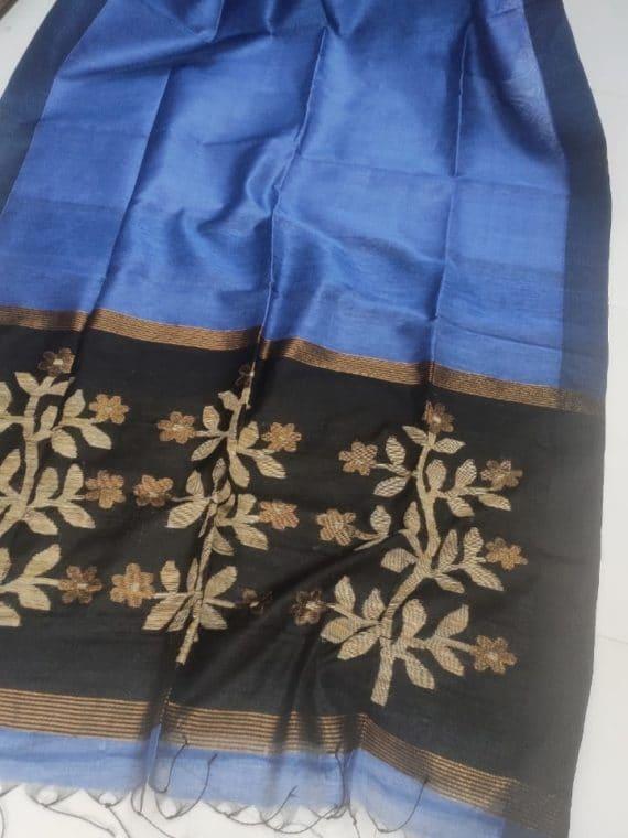Charming Blue Linen Silk Saree With Beautifully Handwoven Desinger Pallu