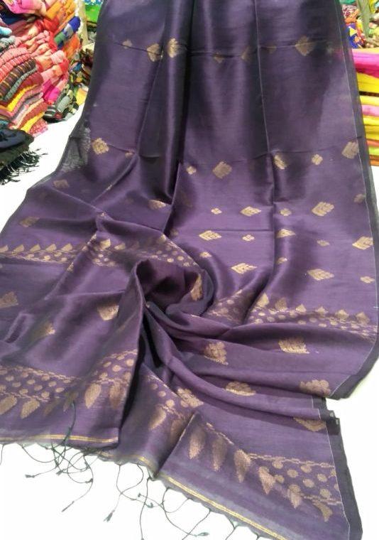 Dark Purple Golden Zari Handwoven Jamdani Cotton Linen Saree