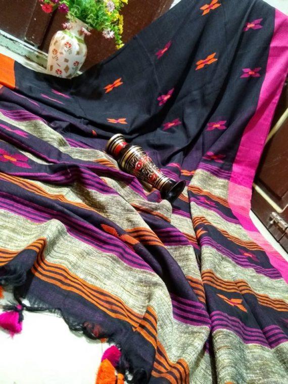 Enticing Black Khadi Jamdani Saree with Pink Orange Border