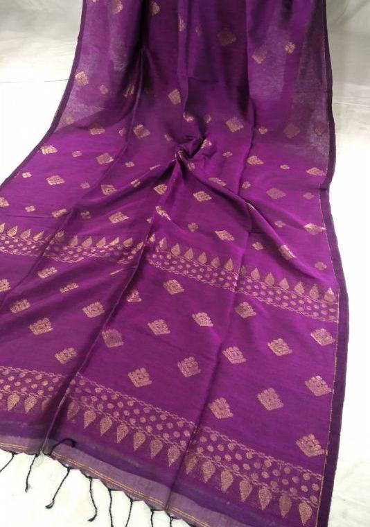 Enticing Purpl Pink Golden Zari Handwoven Jamdani Cotton Linen Saree