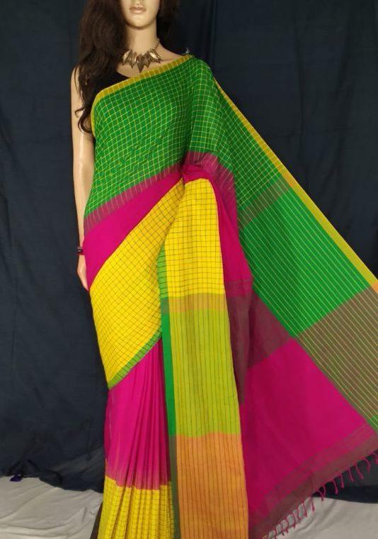 Green Pink Yellow Fusion Khadi Check Saree