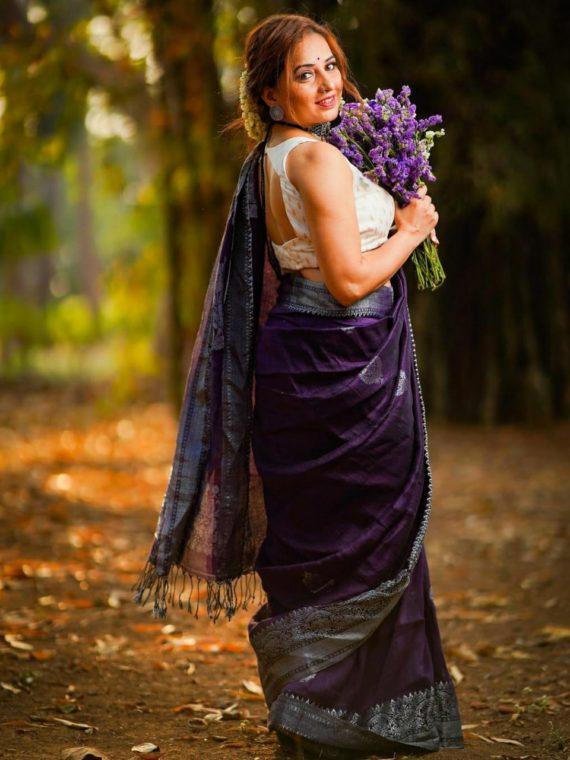 Loomfolks Linen Banarasi saree (2)