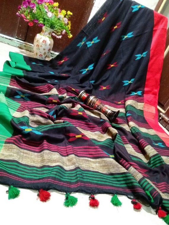 Lovely Black Khadi Jamdani Saree with Red Green Border