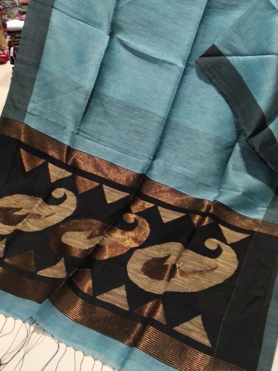Ocean Blue Linen Silk Saree With Beautifully Handwoven Desinger Pallu
