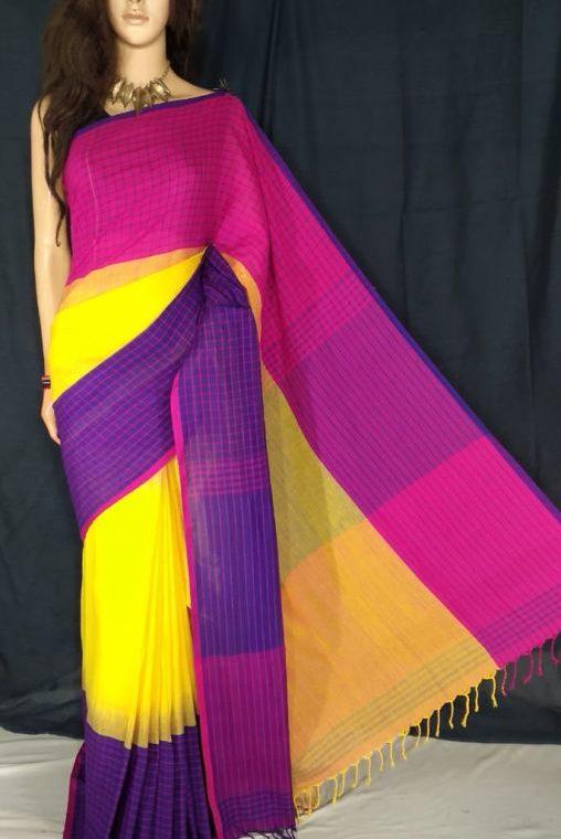 Pink Yellow Purple Fusion Khadi Check Saree