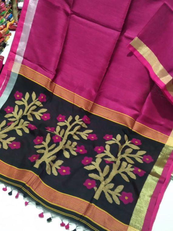 Pretty Pink Linen Silk Saree With Beautifully Handwoven Desinger Pallu