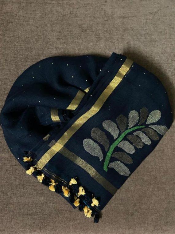 Ravishing Black Handwoven Linen Sequin Saree
