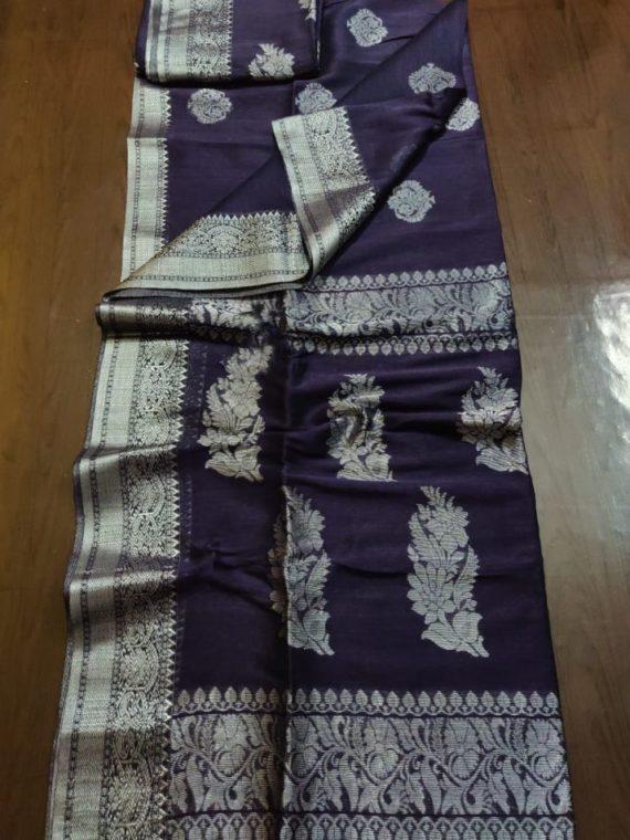 Rich Dark Purple Linen Handloom Saree with Banarsi Design