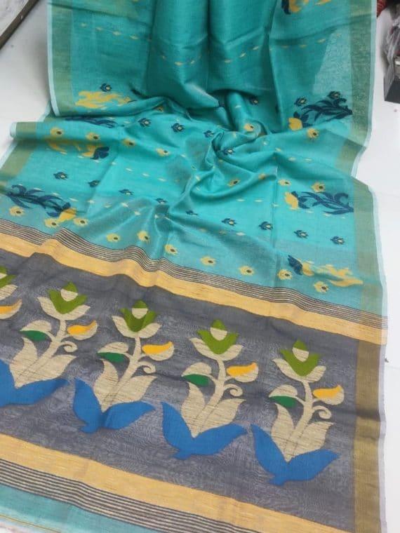 Sea Green Handwoven Linen Silk Jamdani Saree