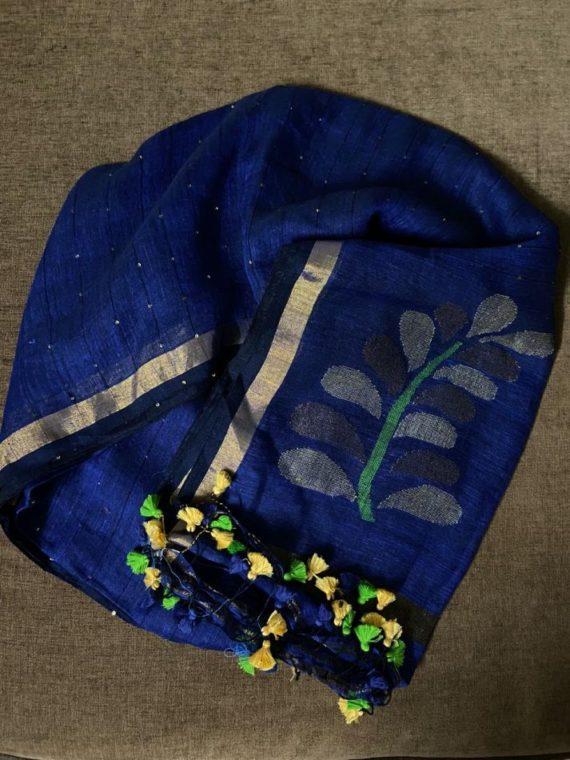 Strikingly Beautiful Dark Navy Blue Handwoven Linen Sequin Saree