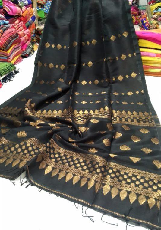 Stunning Black Golden Zari Handwoven Jamdani Cotton Linen Saree