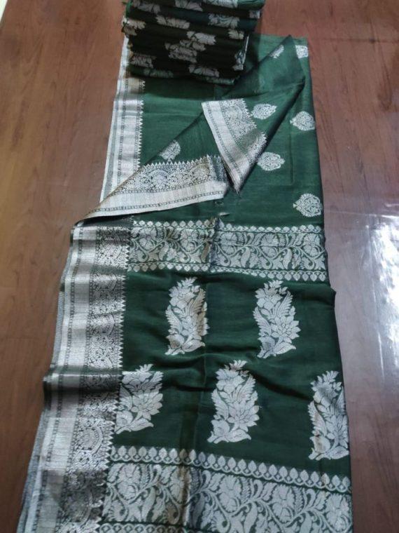 Stunning Dark Green Linen Handloom Saree with Banarsi Design
