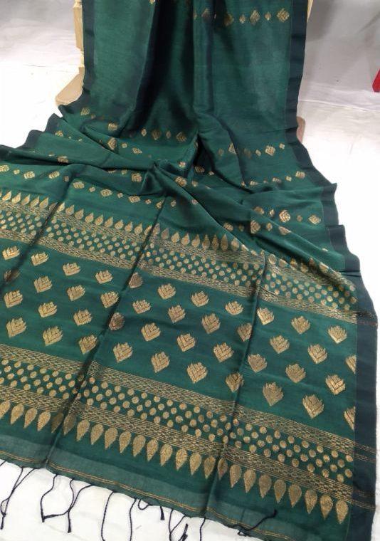 Teal Green Golden Zari Handwoven Jamdani Cotton Linen Saree