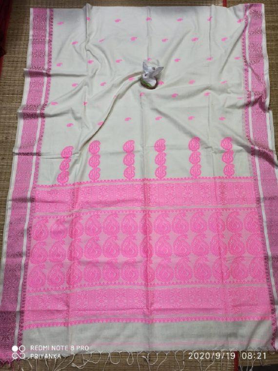 White Baby Pink Mango Butti Cotton Handwoven Saree