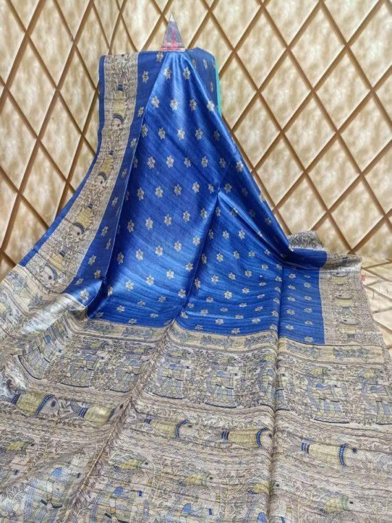 Awesome Blue Tussar Giccha Madhubani Print Saree