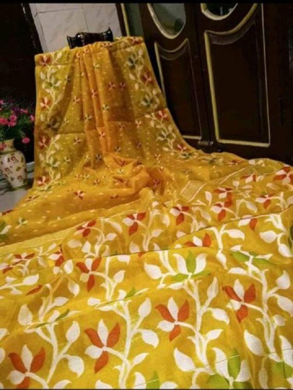 Beautiful Yellow Soft Dhakai Jamdani Saree