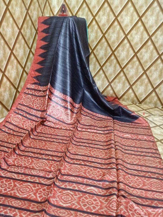 Black Ligh Brick Red Temple border Tussar Giccha Madhubani Print Saree