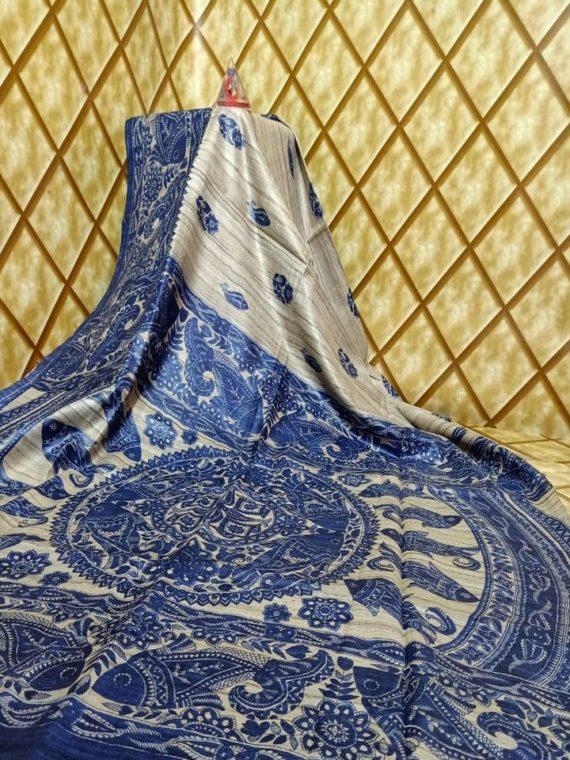 Blue Offwhite Fusion Tussar Giccha Madhubani Print Saree