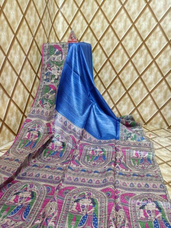 Blue Pink Fusion Tussar Giccha Madhubani Print Saree