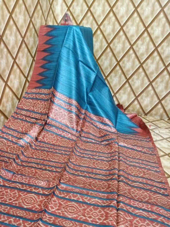 Blue Temple border Tussar Giccha Madhubani Print Saree