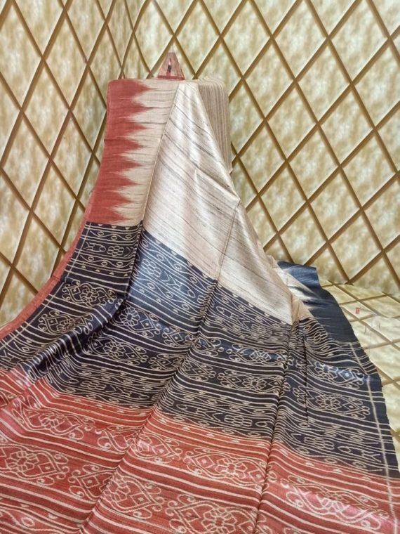 Brick Red Black Fusion Temple border Tussar Giccha Madhubani Print Saree
