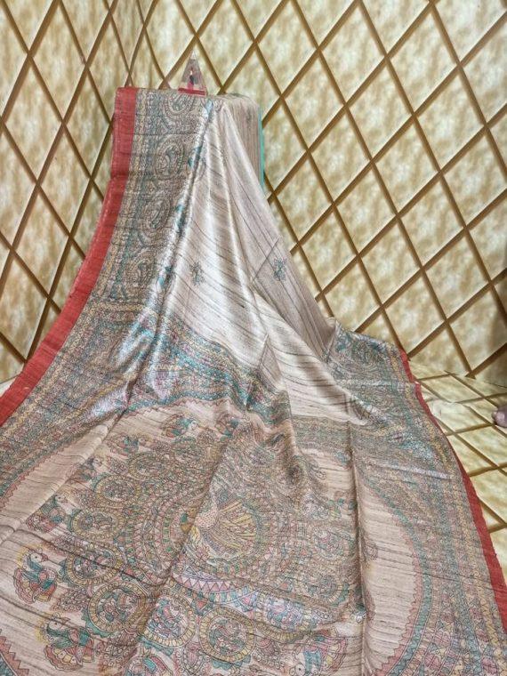 Classic Offwhite Red Fusion Tussar Giccha Madhubani Print Saree