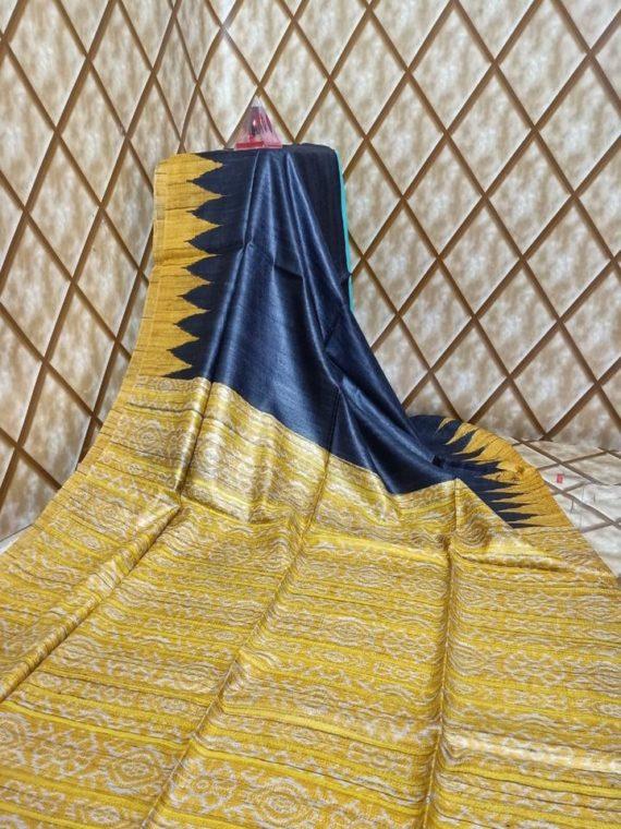 Dark Blue Yellow Temple border Tussar Giccha Madhubani Print Saree