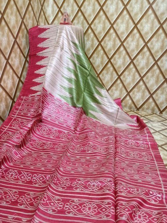 Dark Pink Green Temple border Tussar Giccha Madhubani Print Saree