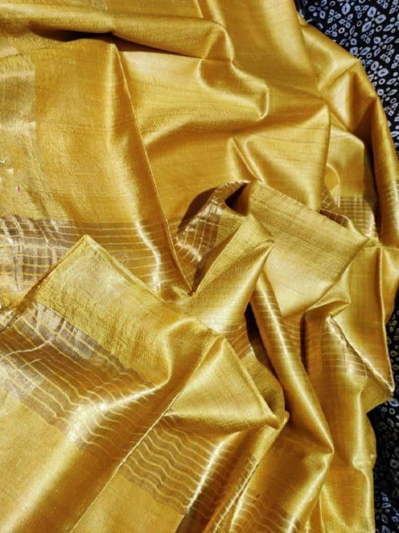 Gorgeous Golden Yellow Pure Desi Bhagalpuri Tussar Silk Saree