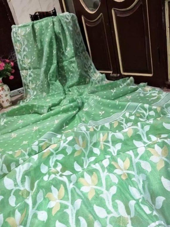 Gorgeous Green Soft Dhakai Jamdani Saree