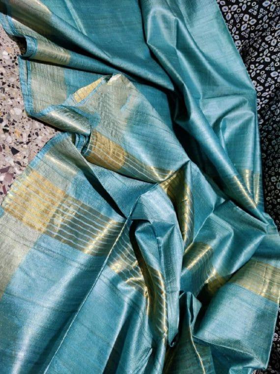 Heavenly Blue Pure Desi Bhagalpuri Tussar Silk Saree