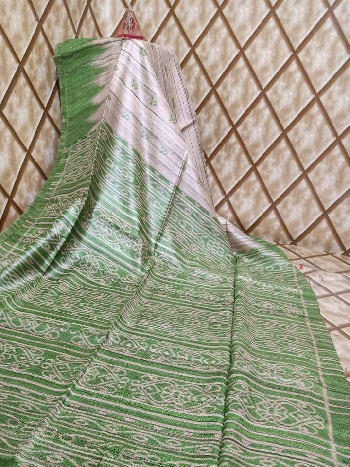 Light Green Temple Border Tussar Giccha Madhubani Print Saree