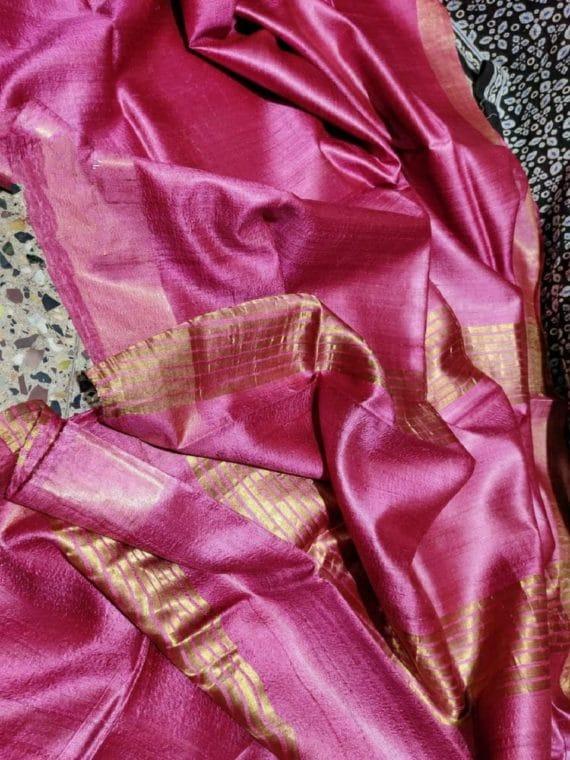 Mesmerizing Dark Pink Pure Desi Bhagalpuri Tussar Silk Saree