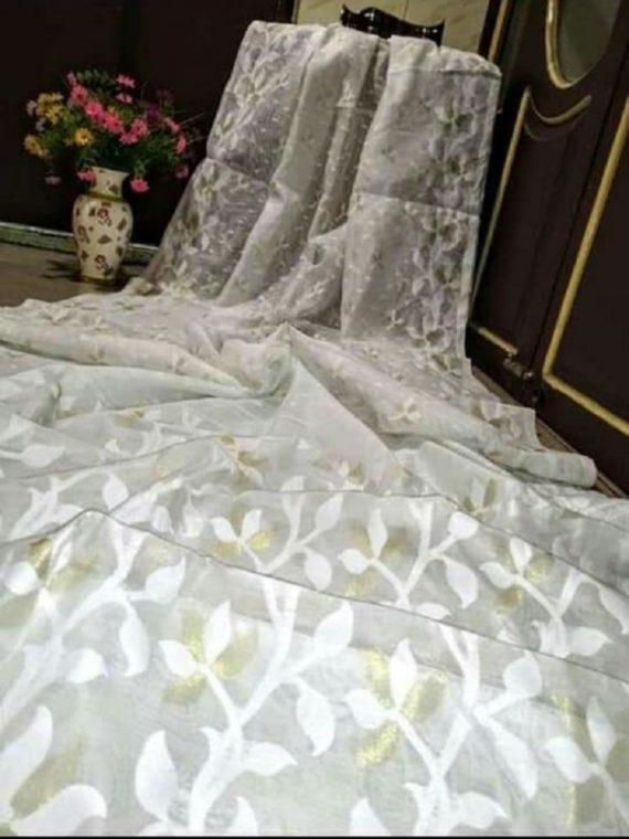 Mesmerizing White Soft Dhakai Jamdani Saree