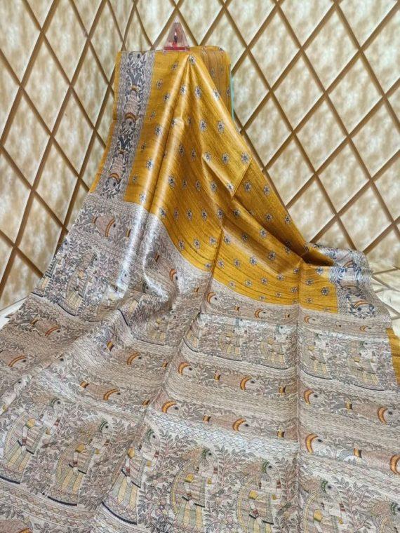 Mustard Yellow Tussar Giccha Madhubani Print Saree
