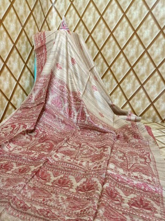 Natural White And Red Tussar Giccha Madhubani Print Saree