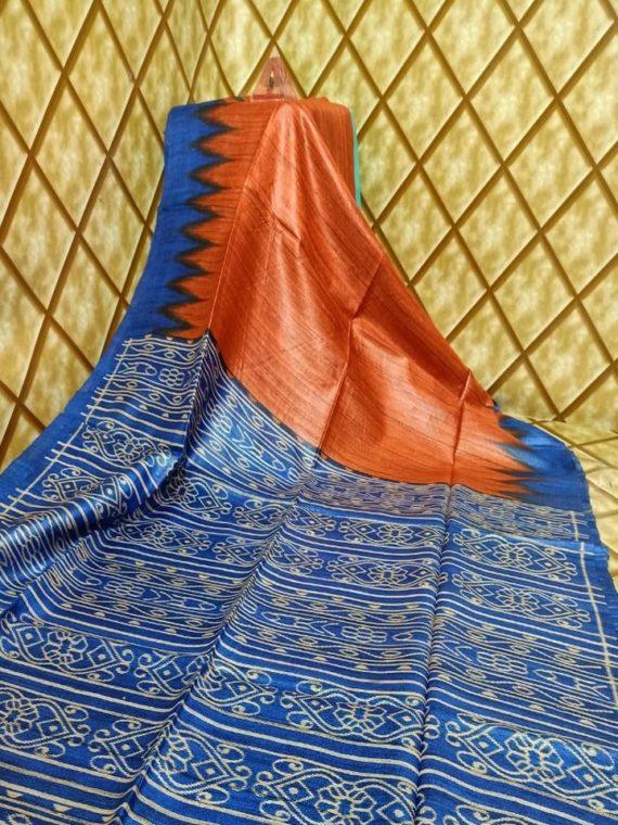 Orange Blue Fusion Temple border Tussar Giccha Madhubani Print Saree
