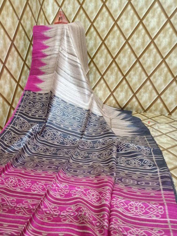 Pink Black Fusion Temple border Tussar Giccha Madhubani Print Saree