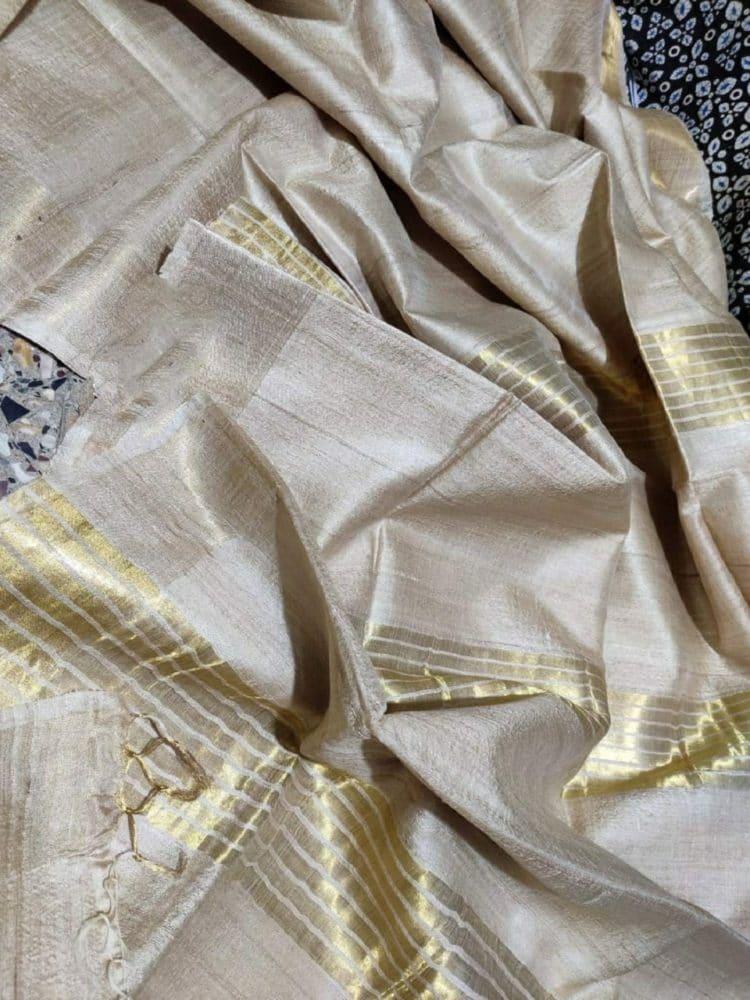 Pleasing Pearl White Pure Desi Bhagalpuri Tussar Silk Saree