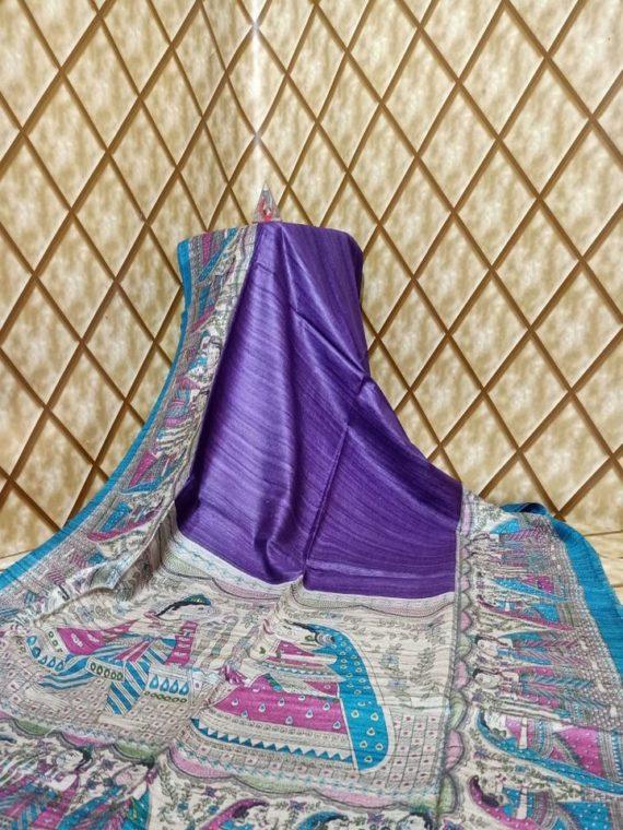 Purple Blue Fusion Tussar Giccha Madhubani Print Saree