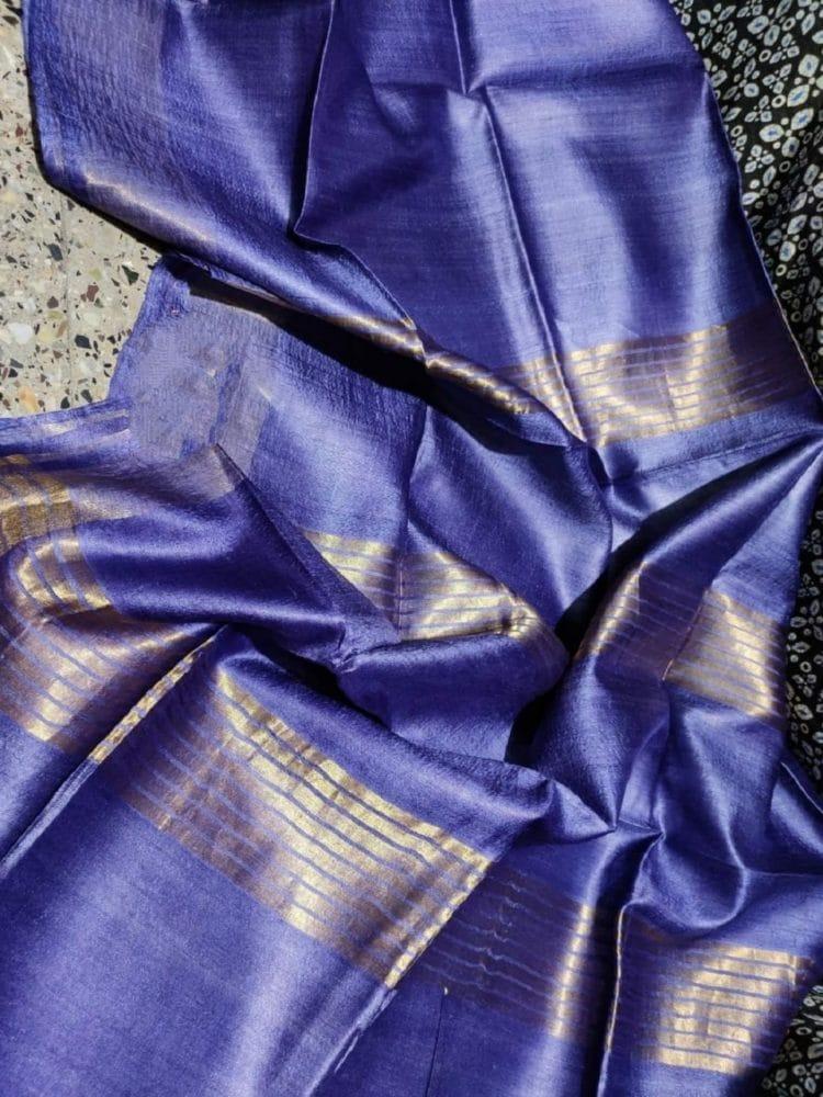 Ravishing Royal Blue Pure Desi Bhagalpuri Tussar Silk Saree
