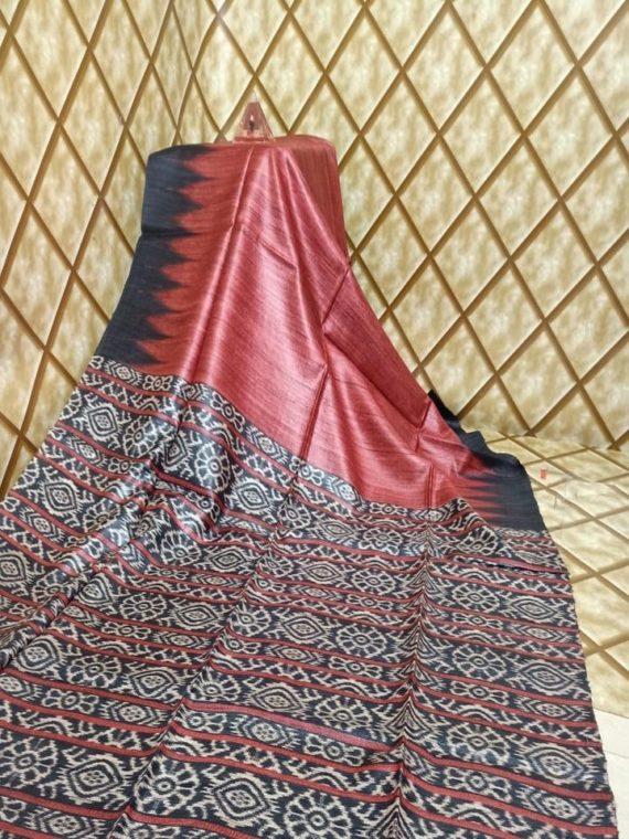 Red Temple border Tussar Giccha Madhubani Print Saree