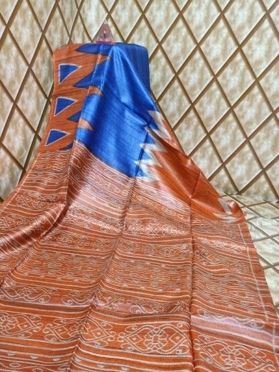 Royal Blue Orange Temple border Tussar Giccha Madhubani Print Saree