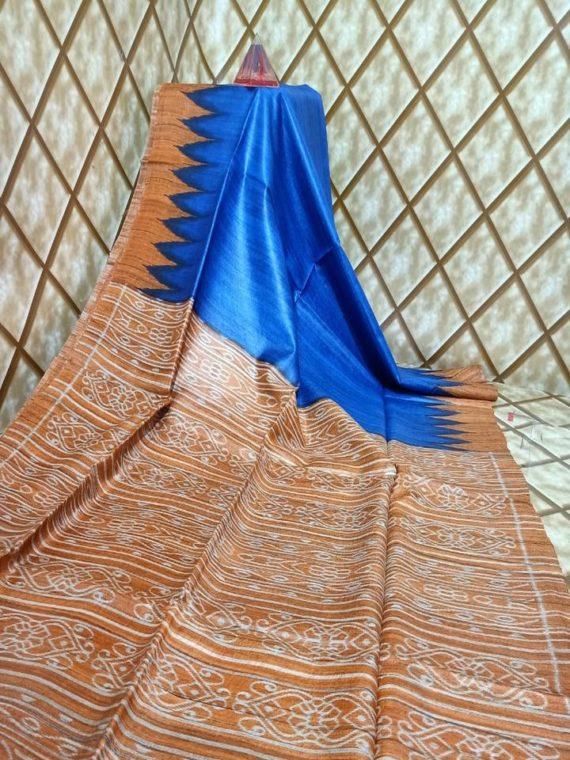 Royal Blue Temple border Tussar Giccha Madhubani Print Saree