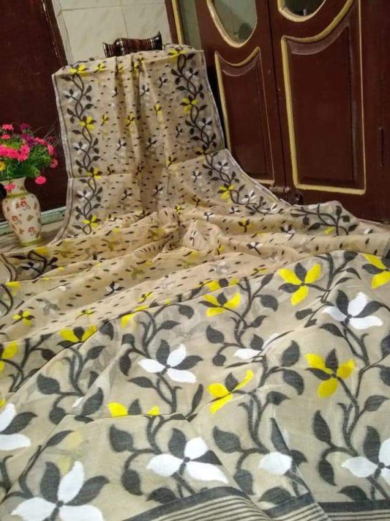 Smart Cream with Black Floral Design Soft Dhakai Jamdani Saree