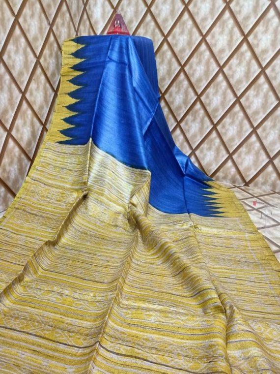 Stunning Blue Yellow Temple border Tussar Giccha Madhubani Print Saree